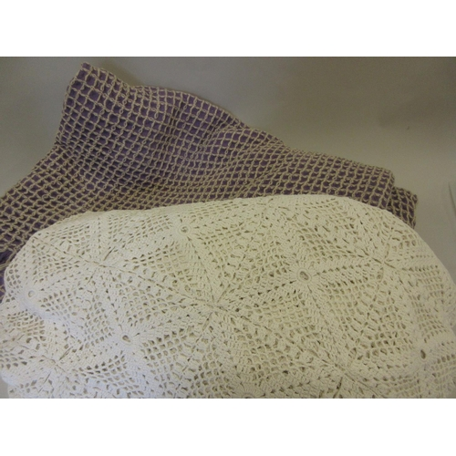 17 - Welsh woollen bed cover together with a crochet work bed cover...