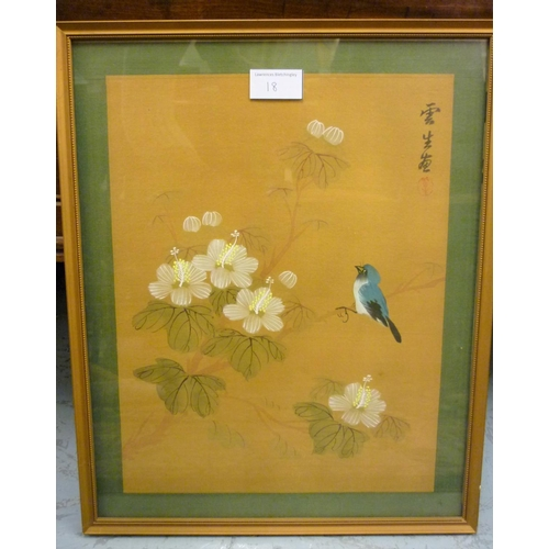18 - Large Chinese watercolour on silk, study of peacocks and foliage, together with a quantity of variou...