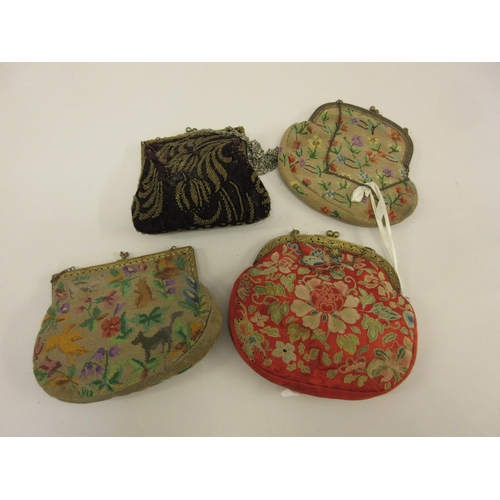 19 - Chinese silk embroidered evening bag together with three other evening bags...