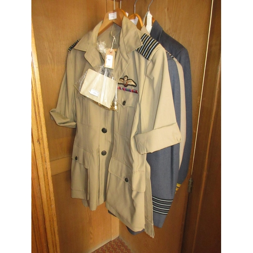 24 - R.A.F. Group Captain uniform circa 1970's, dress uniform and tropical uniform with two jackets, toge...