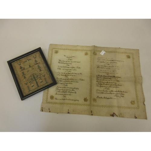 27 - Late 18th or early 19th Century miniature Adam and Eve sampler, 6.25ins x 5ins, together with an unf...