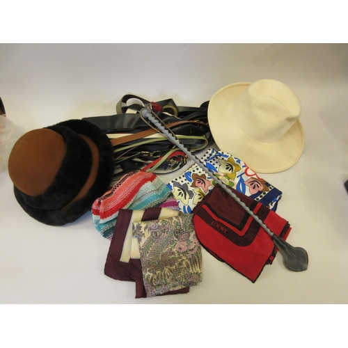 29 - Quantity of various costume belts, scarves, two hats and a leather handled shoe horn...