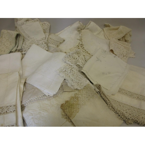 36 - Quantity of crochet edge and other table linen...
