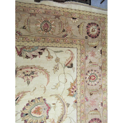 4 - Afghan Ziegler carpet with an all-over palmette design on ivory ground with borders, 14ft x 10ft app...