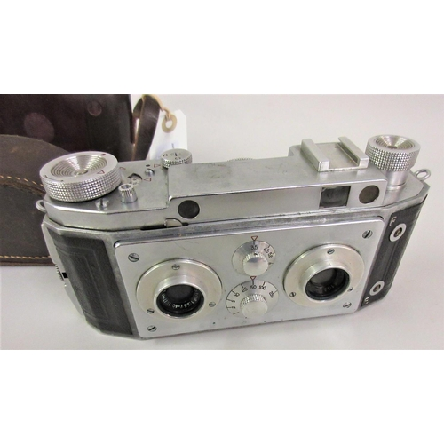 46 - Jules Richard Verascope F4 twin lens stereo camera with leather outer case...
