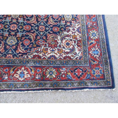 2 - Large Tabriz carpet of unusual five panel Herati and medallion design on a midnight blue ground with...
