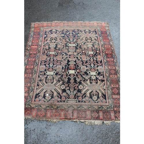 10 - Antique Kurdish rug with all-over design (worn, at fault)...