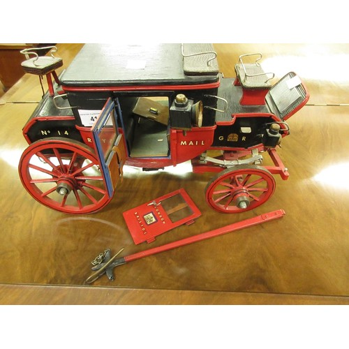 41 - 20th Century wooden scratch built model of Royal Mail London to Bristol horse drawn coach...