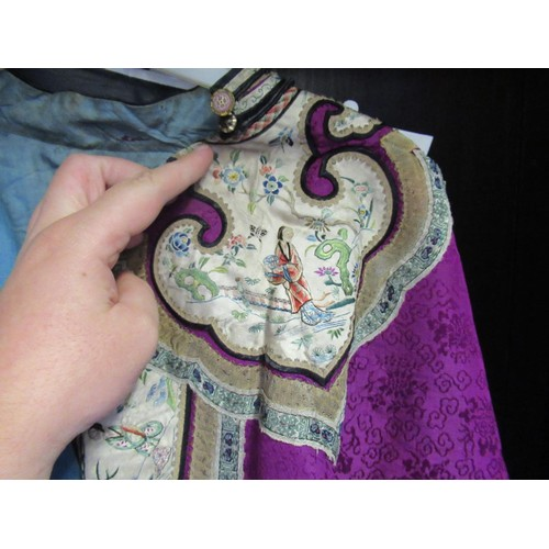 28 - Early 20th Century Chinese silk embroidered jacket, trousers, pair of shoes and headband...