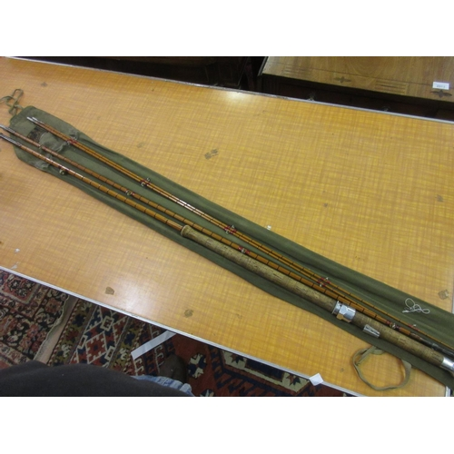 102 - Hardy Wye split cane four piece fishing rod in original canvas case...