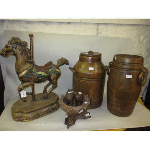 103 - Painted resin model of a ' merry go round horse ', oak barrel, similar stick stand, a hardwood bowl ...