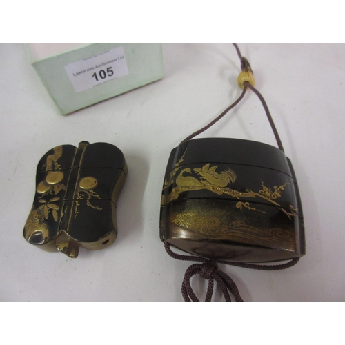105 - Two small Japanese black lacquered and chinoiserie gilded inro decorated with figures and birds (one...