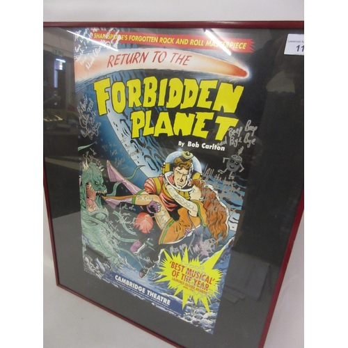111 - Group of three framed theatre posters, ' Return to the Forbidden Planet ' by Bob Carleton, bearing v...