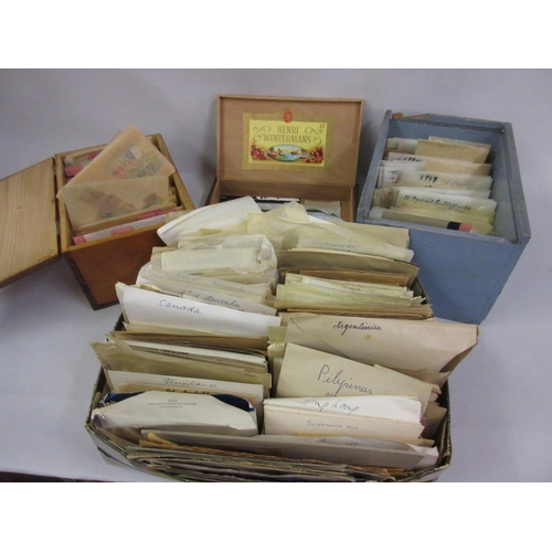 145 - Two wooden boxes containing a collection of miscellaneous loose stamps, mainly of Europe, together w...