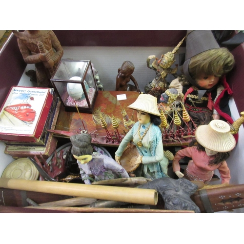 147 - Small red lacquer box, various Continental card games and other miscellaneous collectables...