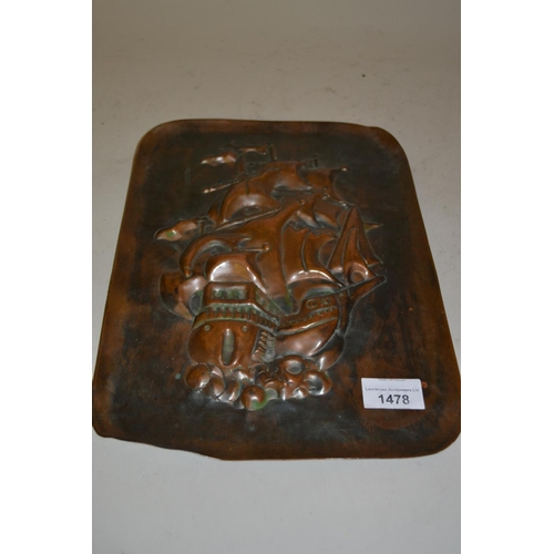 1478 - Newlyn type rectangular copper plaque embossed with a galleon...
