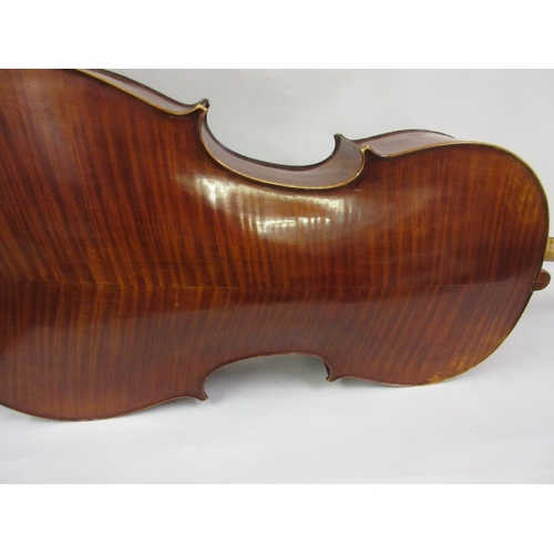 148 - Mid 20th Century cello with a two piece back in a travel case...
