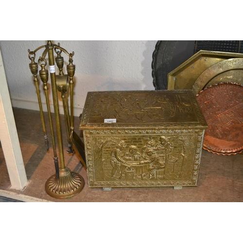 1482 - Brass coal box and a companion set...