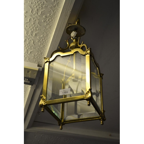 1485 - Mid 20th Century gilt brass and bevelled glass lantern form light fitting, 15ins high...