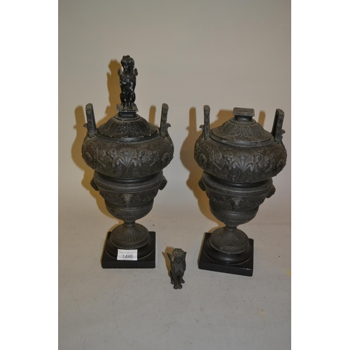 1490 - Pair of 19th Century patinated spelter side urns with animal surmounts (one at fault)...
