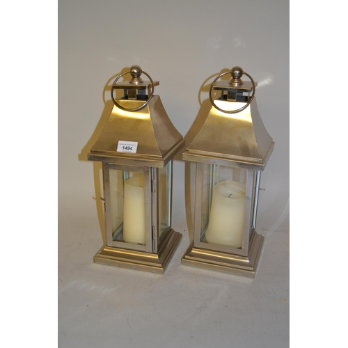 1494 - Pair of modern stainless steel square candle lanterns...