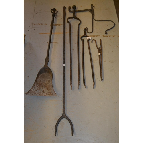 1498 - Antique wrought iron log fork, similar coal shovel, two pairs of tongs and two other items...