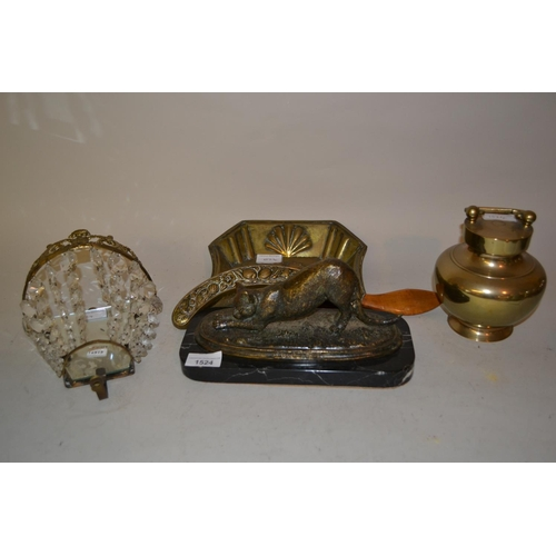 1524 - 20th Century patinated brass figure of a cat on marble base, brass crumb scoop, brass pot and cover ...