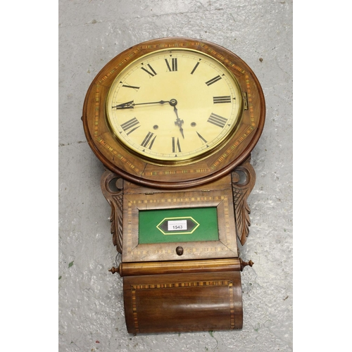 1543 - 19th Century American walnut parquetry inlaid drop-dial wall clock, the enamel dial with Roman numer...