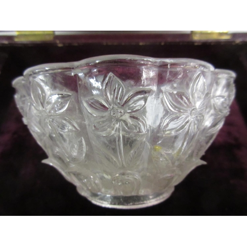 155 - 19th Century or earlier ?, a Moghul carved rock crystal bowl decorated in relief with stylised flowe...