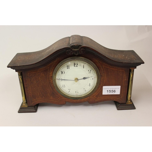 1556 - Edwardian mahogany and inlaid mantel clock...