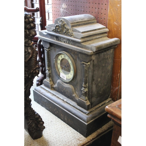 1559 - Large 19th Century black slate and marble mounted mantel clock having circular dial with Roman numer...