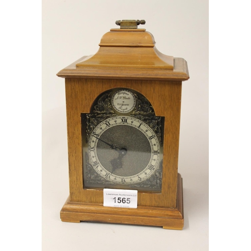 1565 - Small reproduction walnut cased mantel clock in George III style with presentation plaque to the inn...