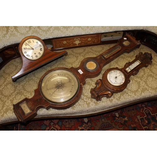 1569 - 19th Century line inlaid mahogany five glass barometer (for restoration), 20th Century carved oak ba...