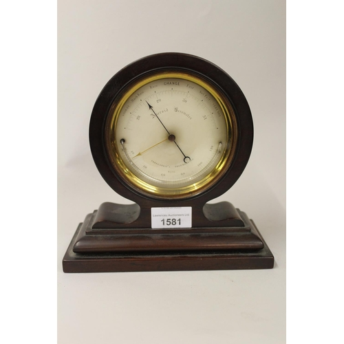 1581 - 19th Century circular gilt brass cased aneroid barometer / thermometer with silvered dial, inscribed...