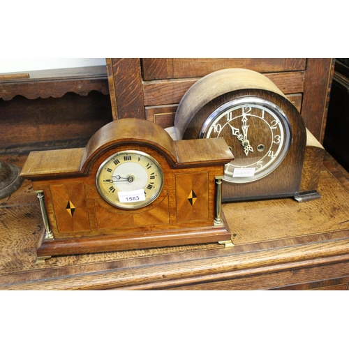 1583 - 1920's Mahogany and parquetry inlaid dome shaped mantel clock together with an oak dome shaped two t...