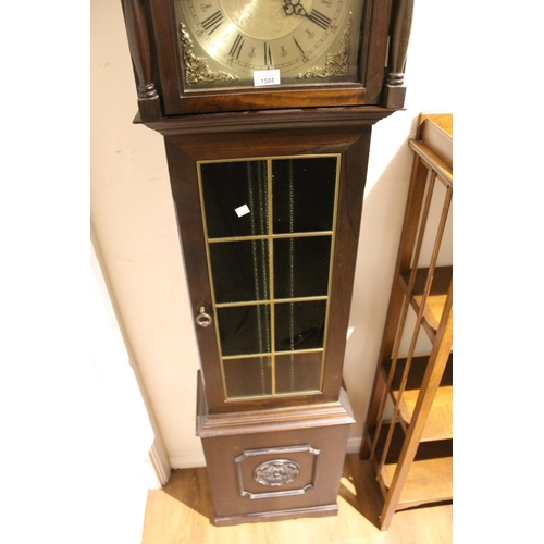 1584 - Reproduction mahogany Grandmother clock, the silvered dial with moon phase aperture and three train ...