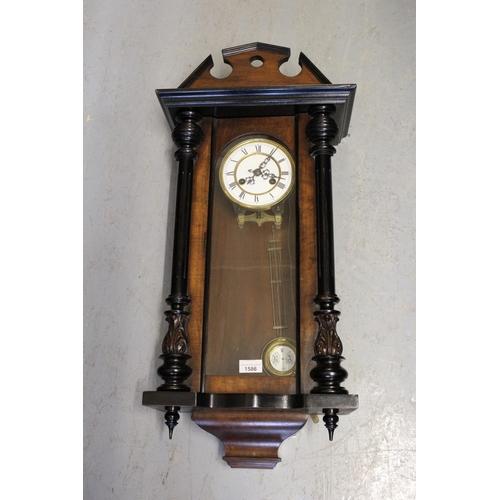 1586 - Small 19th Century Vienna type walnut and ebonised two train wall clock...
