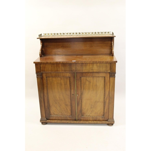 1598 - Early Victorian mahogany chiffonier, the shelf back with a brass gallery above a single drawer and t...