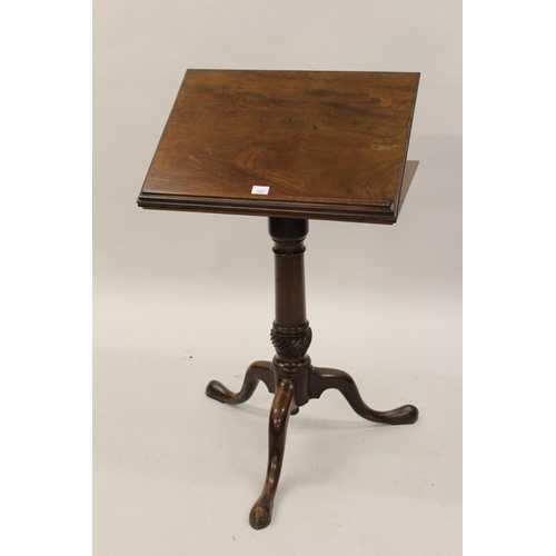 1600 - 18th Century mahogany reading table, the hinged adjustable top raised on turned column and tripod su...