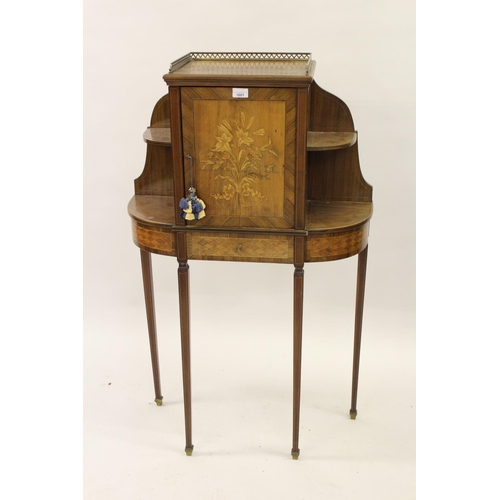 1601 - Small Edwardian mahogany floral marquetry and parquetry inlaid side cabinet, the galleried top above...
