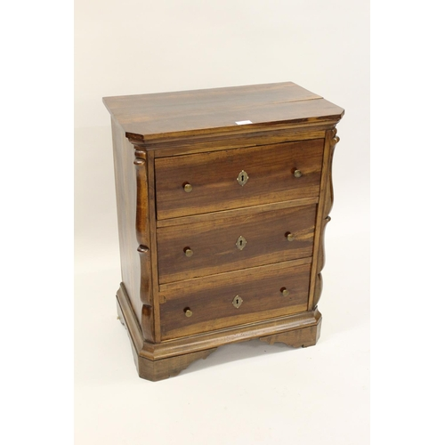 1606 - 18th / 19th Century Continental fruitwood dwarf chest of three drawers flanked by scroll columns rai...