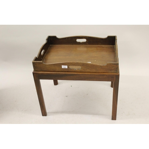 1607 - 19th Century rectangular oak butlers tray on a later stand