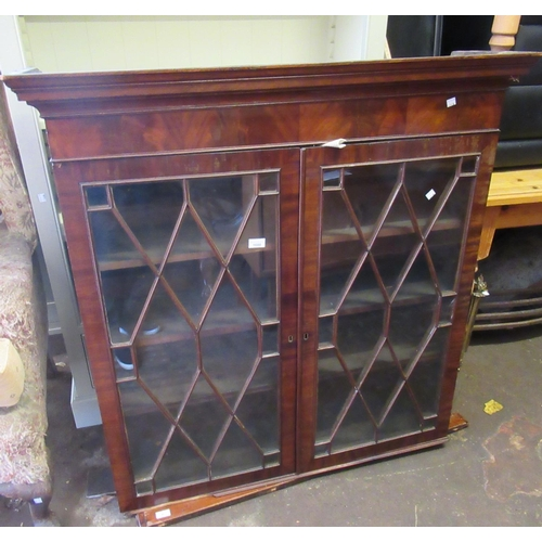 1608 - George III mahogany bookcase top with astragal glazed doors, 44ins wide...