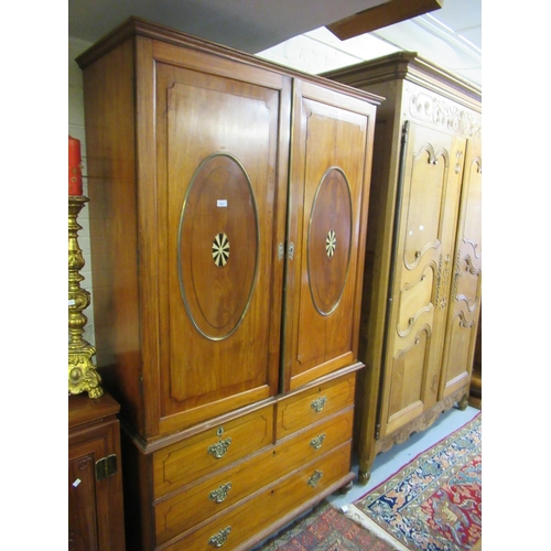 1611 - 19th Anglo Indian teak linen press, the moulded cornice above a pair of fielded panelled doors inset...
