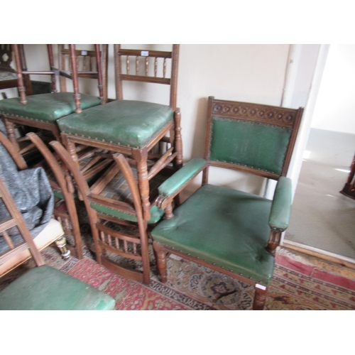1613 - Set of eight (six plus two) late 19th Century dining chairs having carved and spindle backs with ove...