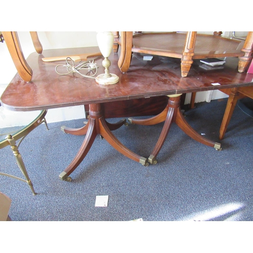 1615 - Reproduction mahogany twin pillar D-end dining table with single extra leaf raised on turned column ...