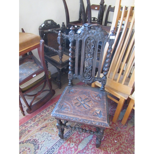 1617 - Pair of 19th Century Continental oak side chairs with cane backs and seats, similar 19th Century oak...