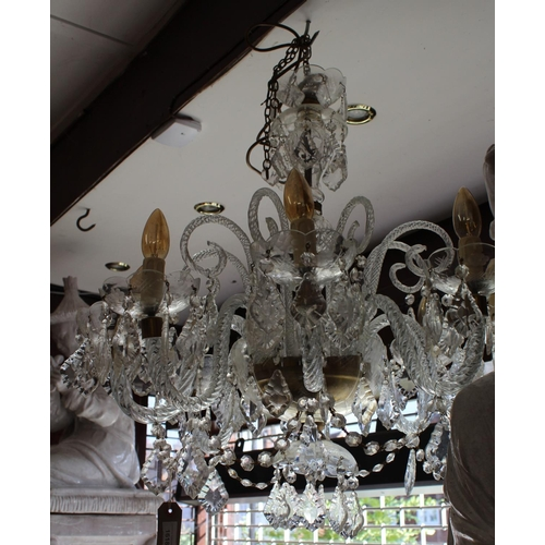 1618 - Large mid 20th Century glass eight light electrolier...