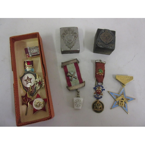 162 - Silver gilt and enamel Masonic medal, various other small medals and stamps, together with a small q...