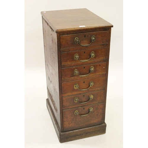 1620 - Pair of 19th Century mahogany pedestals each having plain moulded top above six drawers with brass s...